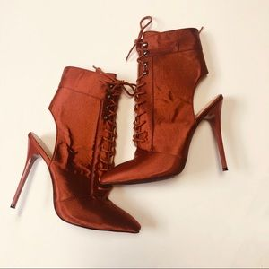 Chyna Cut Out Lace Up Ankle Boots in Rust Satin